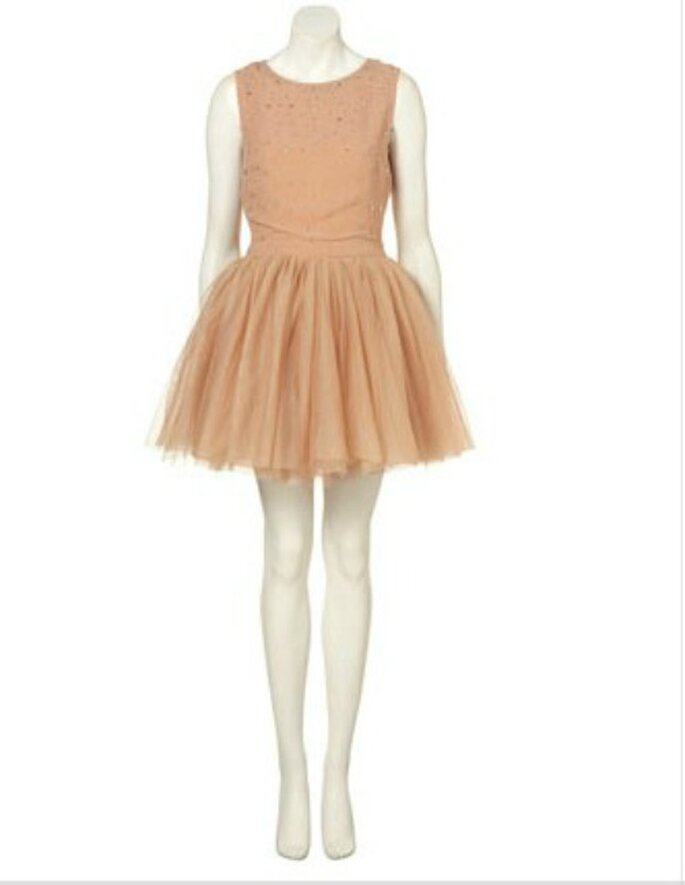 Abito color cipria con gonna in tulle e brillantini. Topshop