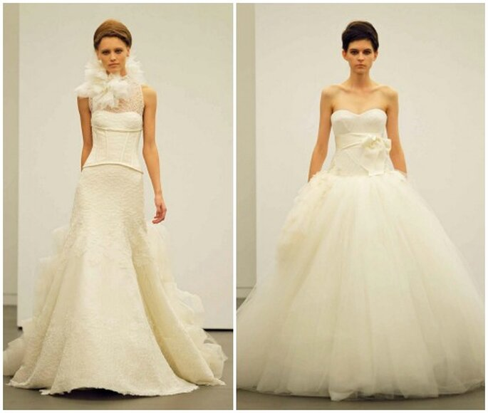 Due proposte per la sposa romantica e iperfemminile. Vera Wang Fall 2013 Bridal Collection. Foto: www.verawang.com