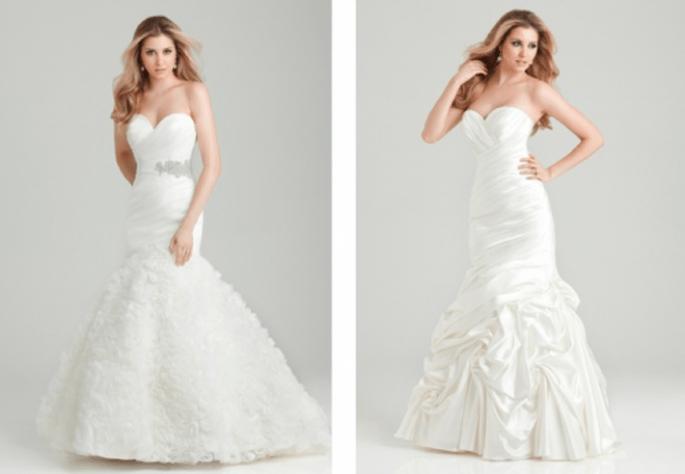 Vestidos de novia corte sirena con volumen en la falda y detalles en la cintura - Foto Allure Bridals