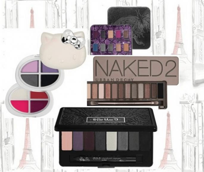 Sombras de colores para el maquillaje de la esposa - Foto Hello Kitty, Urban Decay y Kat Von D todos en Sephora