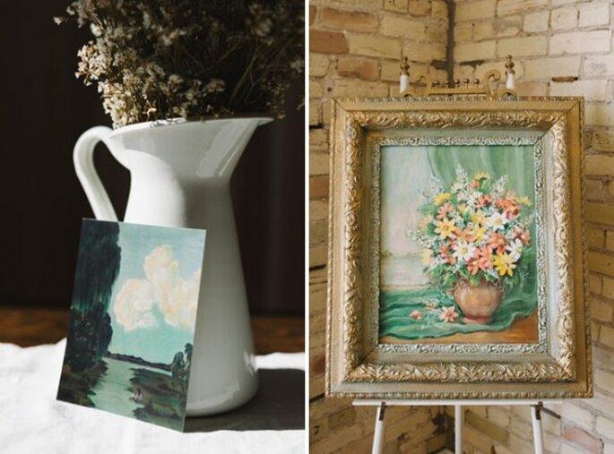 Des petites peintures old style placées dans des coins stratégiques - Photo T&S Hughes Photography