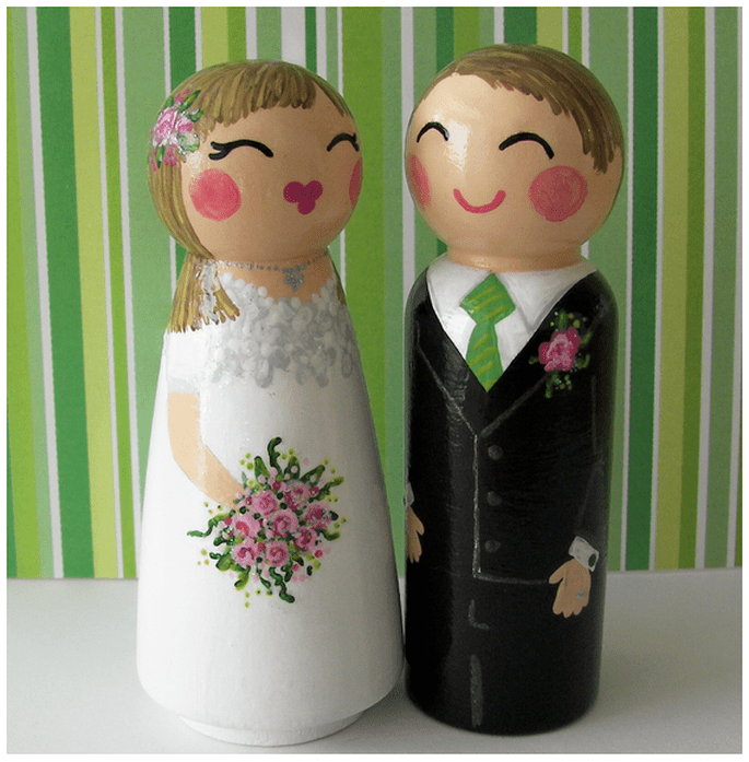 Muñecos pintados a mano para tu pastel de bodas - Foto Etsy