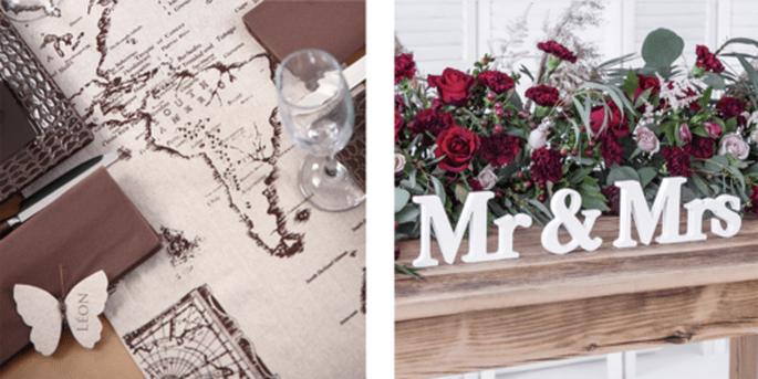 Rouleau de table globe et Lettres Mr. et Mrs.
