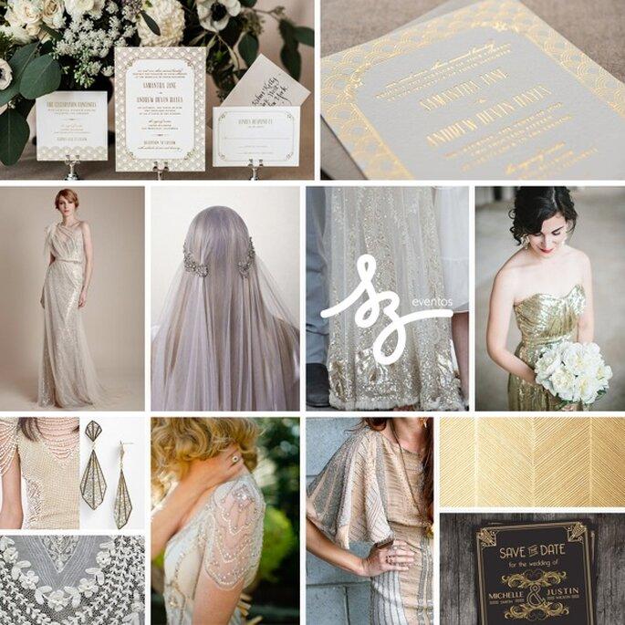 Inspiración para decorar tu boda al estilo art decó - Fotos de OneLove Photography, The Decorista, Minted, Ersa Atelier