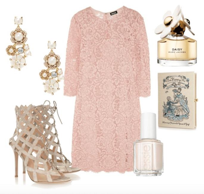 Vestido de DKNY, zapatos de Gianvitto Rossi, perfume de Marc Jacobs, clutch de Olympia Le Tan, esmalte de Essie y aretes de Kate Spade