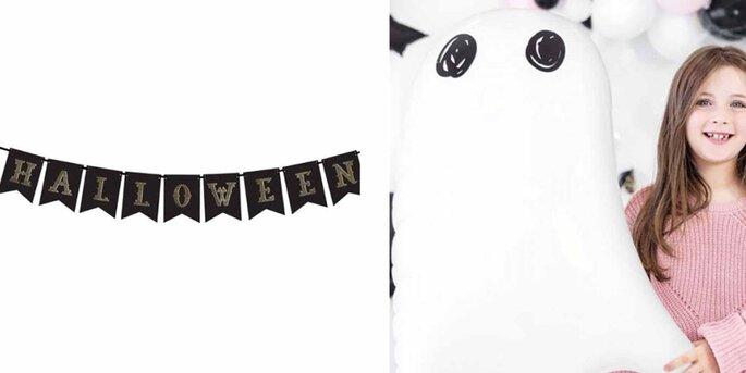 Banner de Halloween negro y dorado