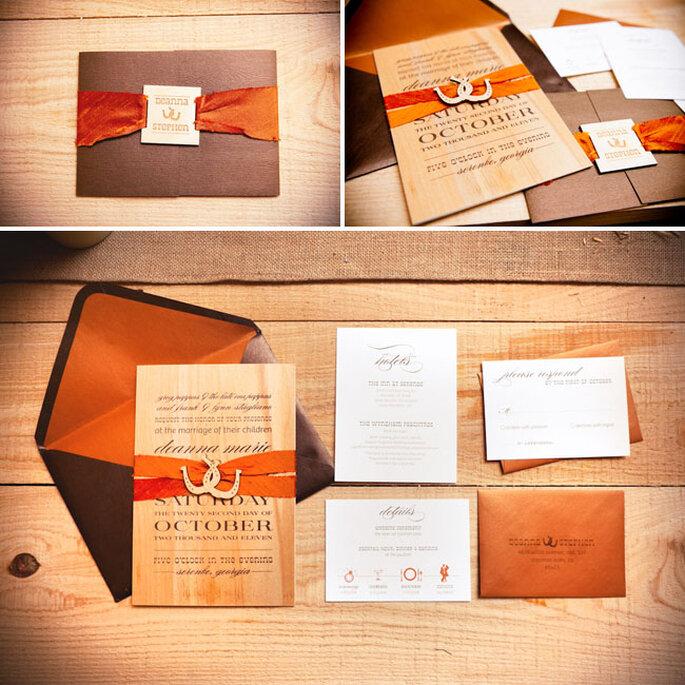 Hochzeitskarten in Orange - Foto: Callaway Gable/Lauren Belknap