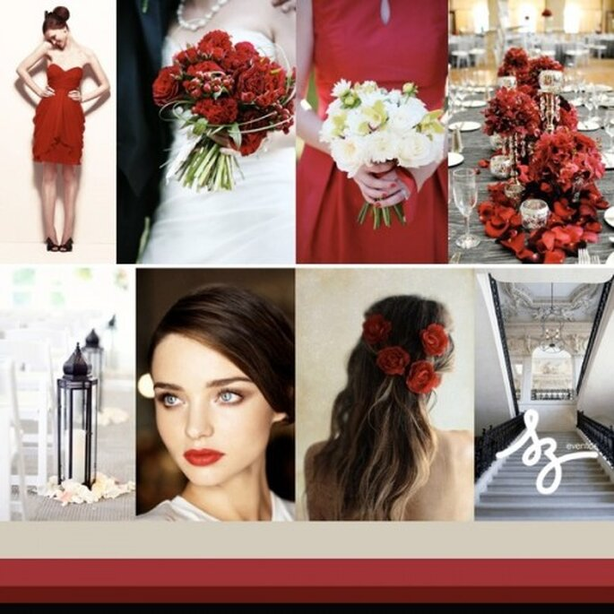 Collage de inspiración para llenar tu boda de detalles en color rojo intenso - Fotos cynthiamartyn.com, bridesparkle.com, weddingtonway.com, birdsofafeatherblog.net, denver-weddings.blogspot.mx - Diseño de Raisa Torres para SZ Eventos