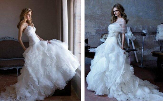 Gonne multistrato donano un'allure romantica all'abito. Alessandra Rinaudo Collezione 2012