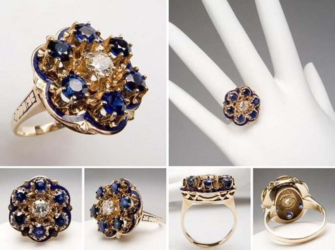 Anillo de compromiso con zafiros y diamantes - Foto Eragem