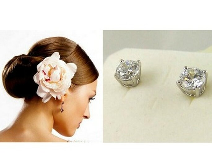 Chignon bas avec fleur sur le côté - Boucles d'oreille en diamant