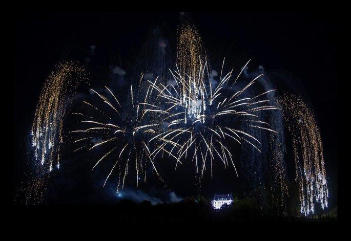 une animation de mariage - un feu d'artifice, un spectacle pyrotechnique