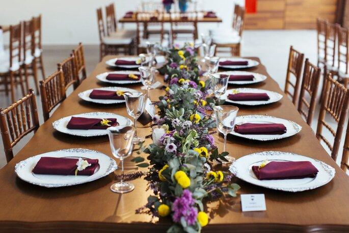 Decoração mesa família dos noivos