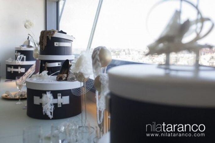 Tocados, sombreros y diademas hechas para novia con la técnica de alta costura - Foto Nila Taranco