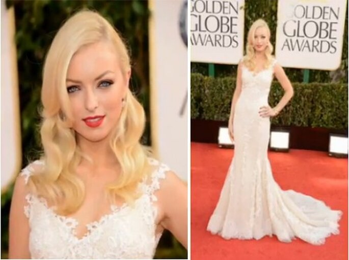 Francesca Eastwood con un vestido Pronovias en los Golden Globes 2013 - Foto OfficiaHollywoodBuzz YouTube