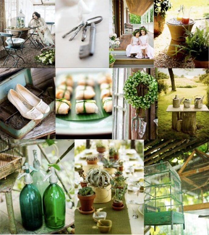 Utiliza el color verde para la decoración de tu boda