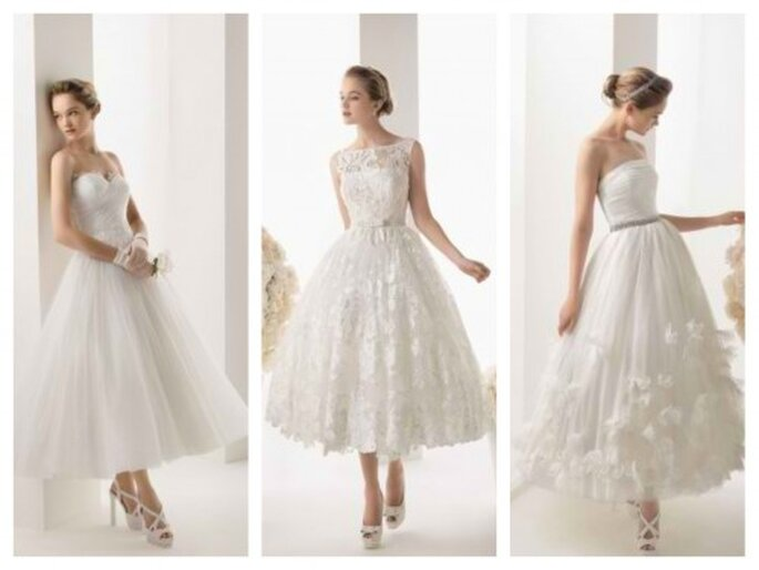 Vestidos de novia cortos para boda civil o segundas nupcias- Foto Rosa Clará