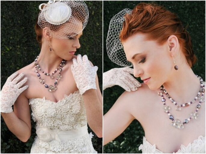 Collar con cuentas en colores cálidos y elegantes para novia - Foto Rosefire Jewelry