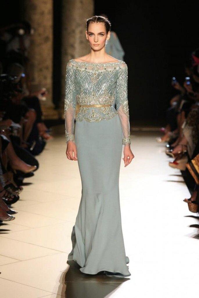 Vestido de gala recto en color azul - Foto Elie Saab 2013
