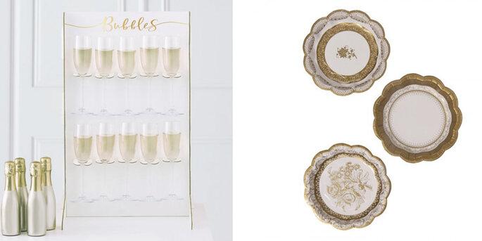 Soporte burbujas de bodas de oro