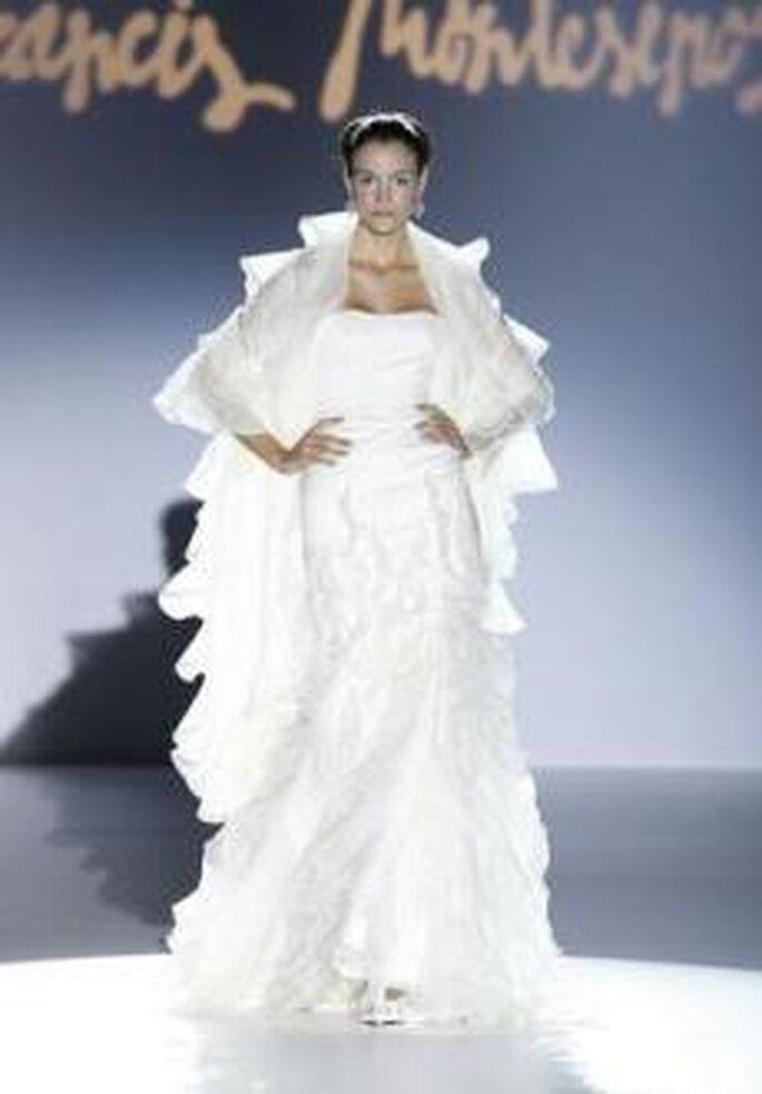Francis Montesinos 2010 - Vestido largo de corte sirena, palabra de honor recto, abrigo de manga 3/4