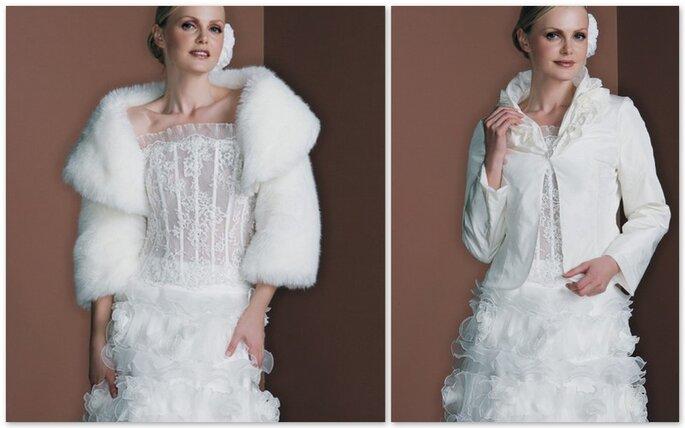 Coprispalla in pelliccia e camicia stropicciata per le spose invernali e autunnali