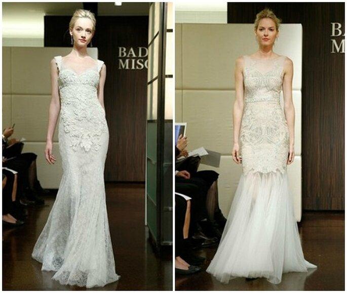 Due modelli a sirena con corpetto fittamente lavorato. Badgley Mischka Fall 2013 Bridal Collection. Foto: www.badgleymischka.com