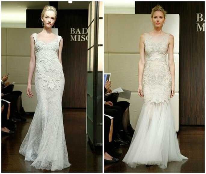 Deux robes de mariée coupe sirène Badgley Mischka automne 2013. Photo: www.badgleymischka.com