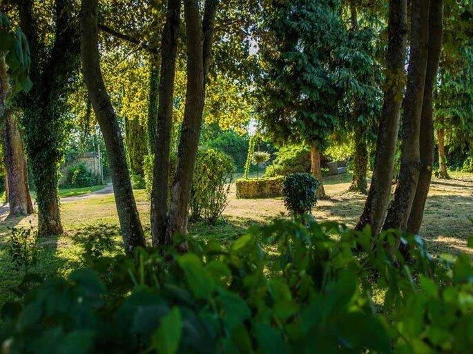 Les espaces extérieurs du Domaine d'Arvigny où peuvent se tenir le vin d'honneur, la cérémonie laïque ou même, le dîner de réception