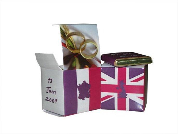 Laissez libre cours à votre imagination pour personnaliser vos cadeaux d'invités - Photo : Chocolat de Mariage