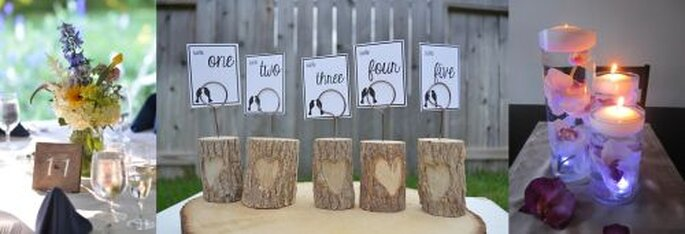 Tolle Ideen für Hochzeitsdekoration zum Selbermachen - Fotos: Etsy.com Tcenterpieces Tanya Reese, Etsy.com EndsOfTheEarthDesign, Etsy.com RoxyInspirations Roxana Acosta