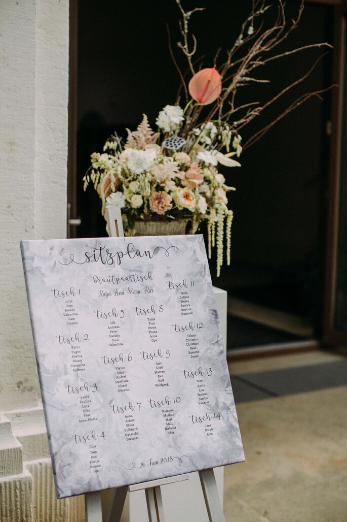 gausfotografie.de: Die Sitzordnung bei der Hochzeit im Herrenhaus.