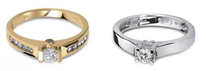 Argollas de compromiso en oro amarillo y oro blanco - Foto Guvier joyería y relojería
