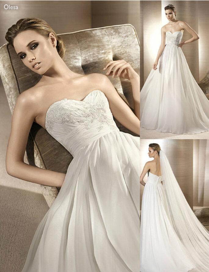 Vestido de novia con incrustaciones en el corset - Foto: Atelier Diagonal