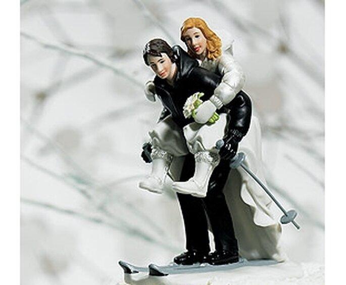 Figurine mariés hiver ski