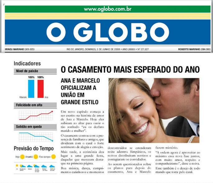 Seu casamento pode aparecer na capa do Jornal O Globo