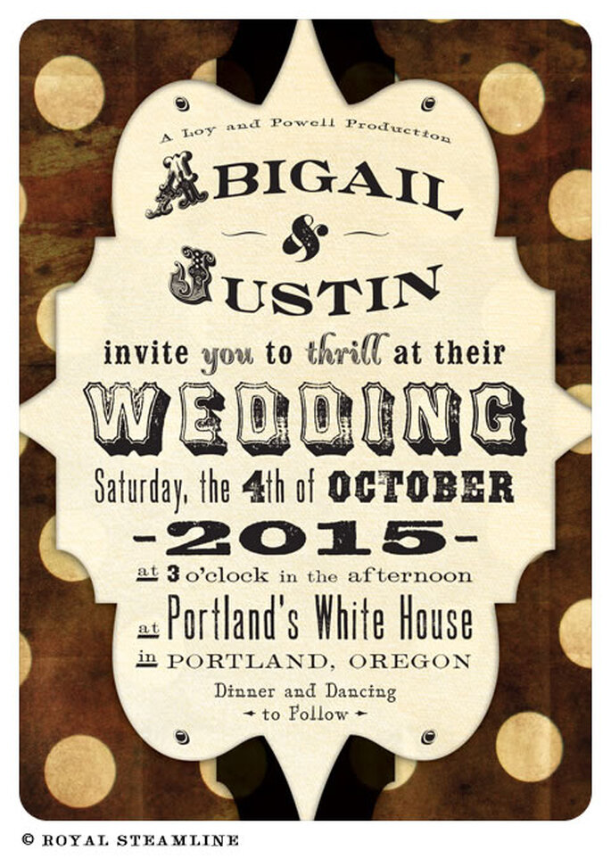 Invitación de boda como anuncio de circo retro - Foto: Royal Steamline