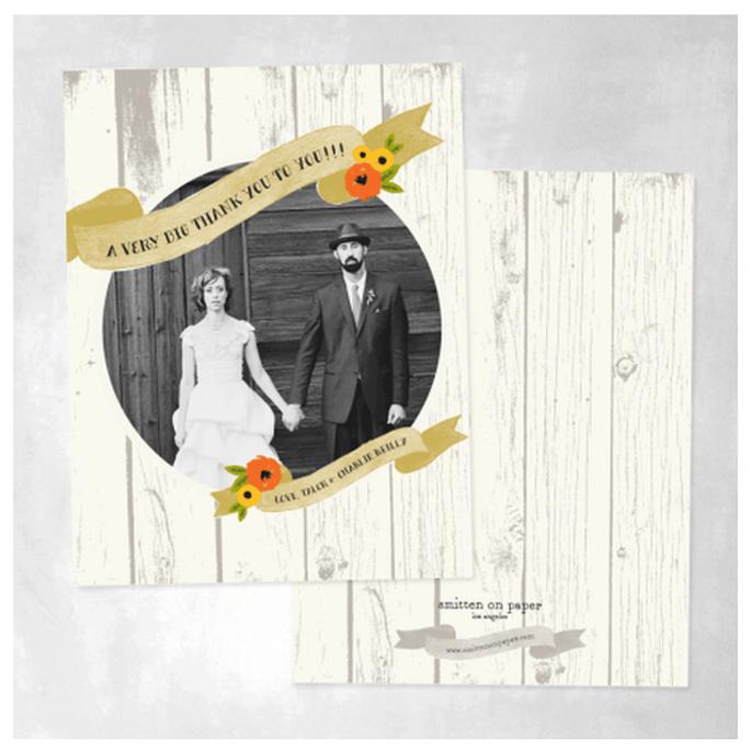 Tarjeta de agradecimiento con textura de madera y estilo vintage - Foto Smitten on Paper