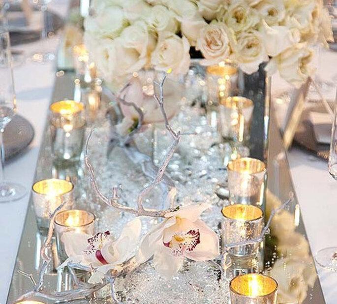 Decoración de boda en colores metálicos - Foto Colin Cowie