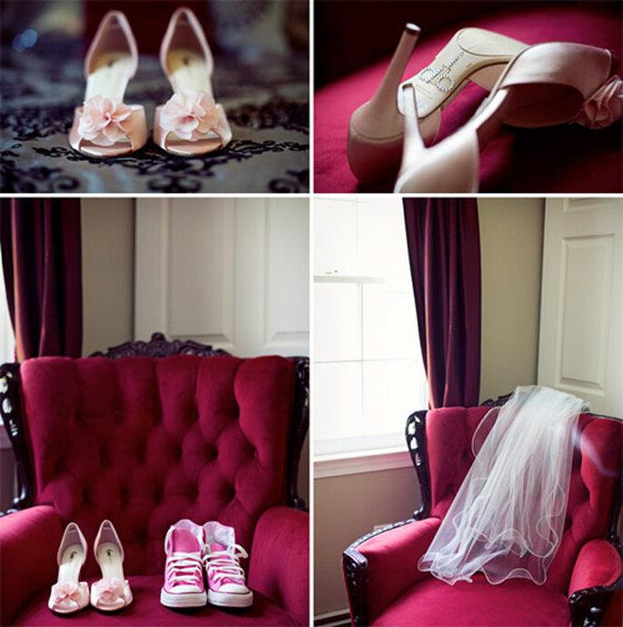 Zapatos personalizados y Converse en color rosa. Foto: Bianca Valentim