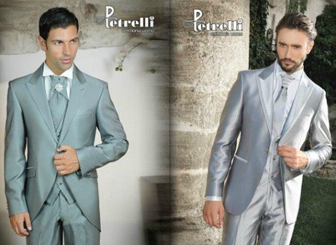 Molto di tendenza anche il gessato nei toni chiari, che viene poi ripreso nella cravatta. Abiti Petrelli Uomo.