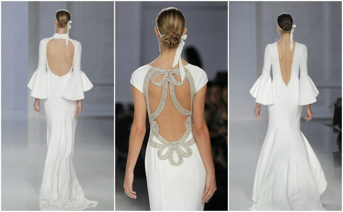 Trouwjurken met open rug. Credits: Rosa Clará - Barcelona Bridal Fashion Week
