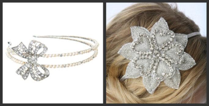 Links: Grace Vintage Pearl Bridal Headband, rechts: leona vintage bridal headband