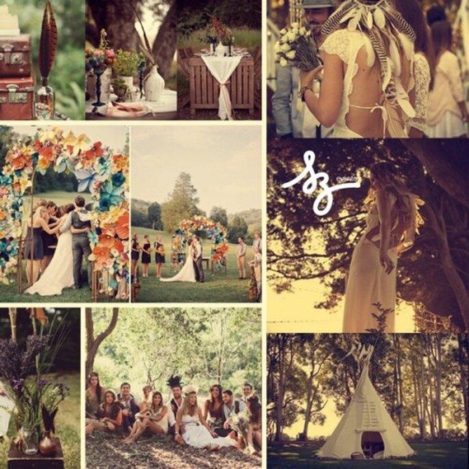 Collage de inspiración para una boda rodeada de amigos - Fotos: bulletwithbutterflywings.ca, thesweetestoccasion.com, greenweddingshoes.com, Diseño de Raisa Torres para SZ Eventos