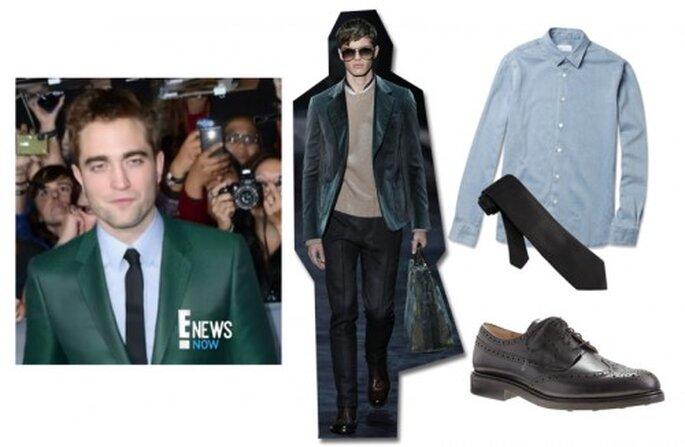 Inspírate en Robert Pattinson para tu estilo de novio - Foto ENews YouTube, traje Gucci Twitter, camisa mrporter.com, corbata ties.com, zapatos JCrew