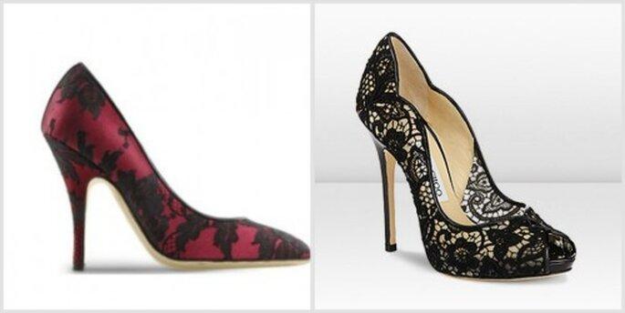 Zapatos elegantes para un look de novia de Halloween. Moschino y Jimmy Choo