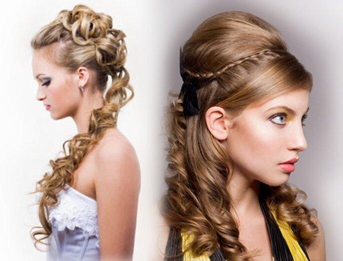 Romantische Locken kann es auch für Frauen geben, die eigentlich glatte Haare haben. Fotos: www.kleiderkreisel.de & www.jolie.de
