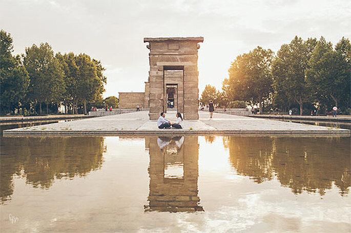 Atardecer en el Templo de Debod, en Madrid. Foto: Nano Gallego
