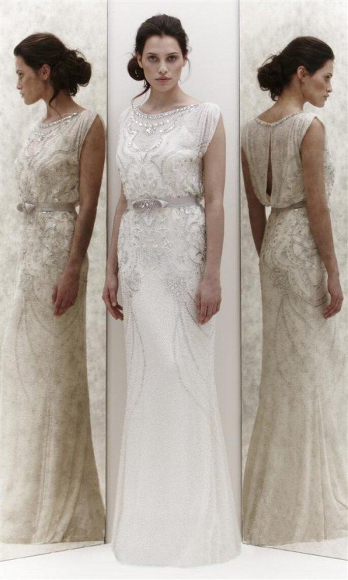 Vestido de novia estilo vintage con cinto de diamantes - Foto Jenny Packham 2013