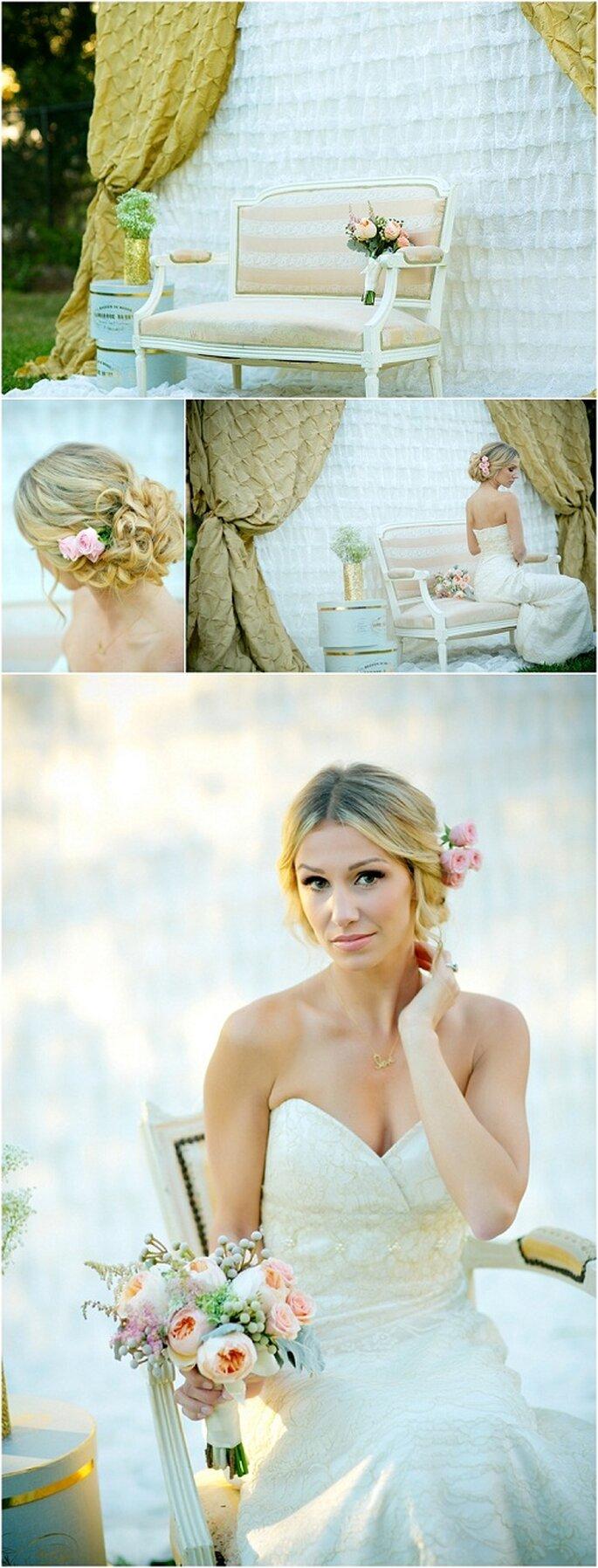 Escenario para fotos de boda con cortina en color dorado - Foto Set Free Photography